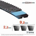 Courroie trapézoïdale polyuréthane Gates Polyflex 3M206/3