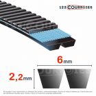 Courroie trapézoïdale polyuréthane Gates Polyflex 3M230/2