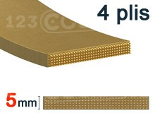 Nos modèles de Courroie plate 5mm - 4 plis
